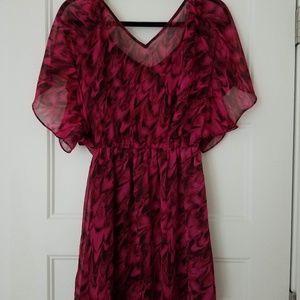 Express Flowy Dress, Maroon/Black Size M, LIKE NEW